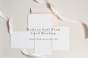 Pale Pink & Grey Card Set Mockup