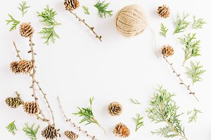 Christmas flat lay with fir cones