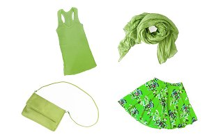 collage of fashionable green summer-