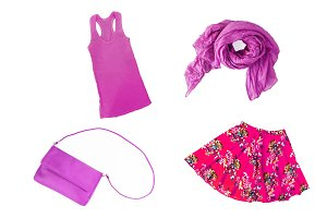 collage of fashionable purple-lilac-