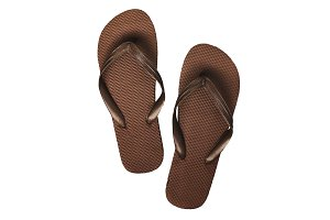 Brown rubber flip flops, isolated on