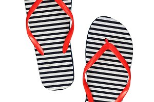 Striped rubber flip flops, isolated