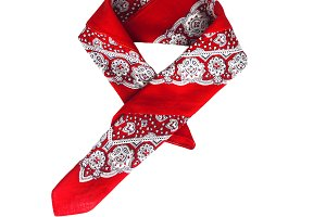 Red kerchief bandana with a pattern,