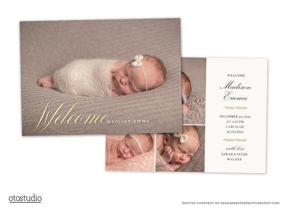 Birth Announcement Template CB079 ~ Card Templates ~ Creative Daddy