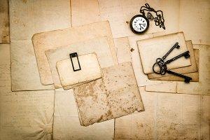 Vintage letters keys Flat lay