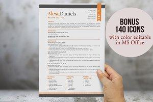 Orange 3 in 1 modern ribbon resume