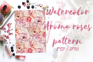 Watercolor Aroma roses pattern