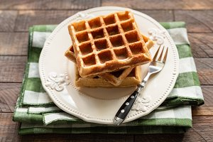 Homemade belgian waffles on plate