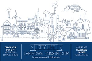 City Skyline Line Art Graphic Kit