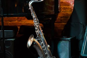 Beautiful saxophone stands on the