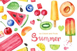 Summer, ice cream and fruits