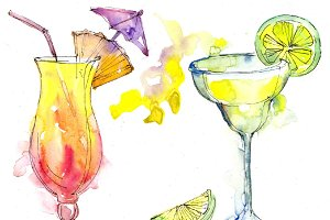 Alcoholic cocktails PNG watercolor