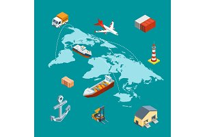 Vector isometric marine logistics