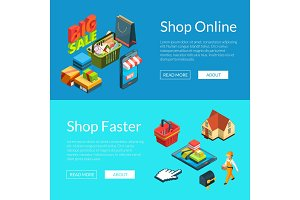 E-shopping banners. Vector isometric