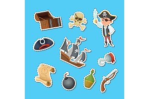Vector cartoon sea pirates stickers