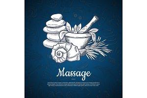 Vector hand drawn spa elements