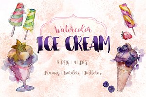 Watercolor cool ice cream PNG  set