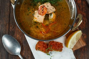 Fresh fish soup with ingredients