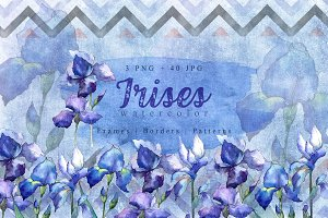 Nice blue irises PNG watercolor set