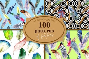 100 patterns of feather JPG set