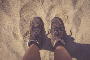 Hiking Boots In The Sand