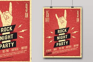 Rock Night Party Poster.