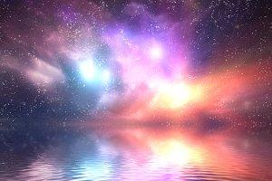 Ocean under space sky