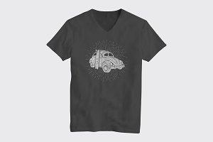 Surf Car T-Shirt Design Concept.