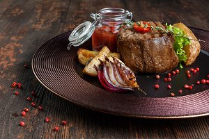 steak medallion. restaurant food