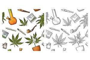 Seamless pattern with marijuana leaf
