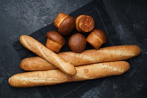 Mixed breads on black background