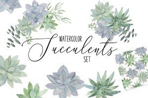 Watercolor Succulent Graphics Bundle