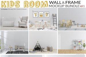 Kids Room Wall & Frame Mockup Set 1