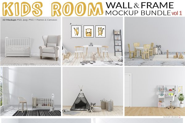 Kids Room Wall & Frame Mockup Set 1…