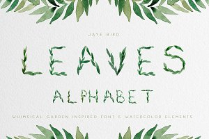 Leaves Font/Greenery Clipart Bundle