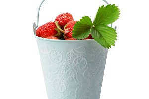 Strawberries in bucket