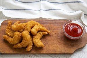Fried shrimps tempura with sauce