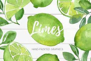 Watercolor Lime Citrus Fruit