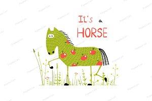 Fun Cartoon Horse in Grass Field