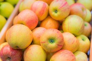 Bunch of apples in supermarket