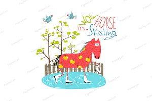 Cartoon Ice Skating Horse for Kids