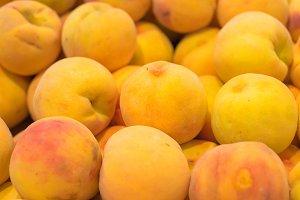 Fresh peaches background shallow dee