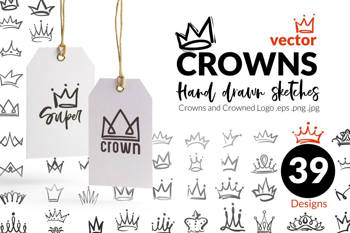 Vector hand drawn crowns