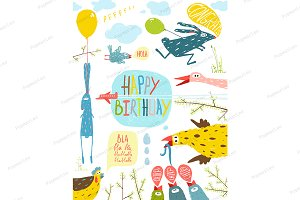 Fun Animals Happy Birthday Greeting