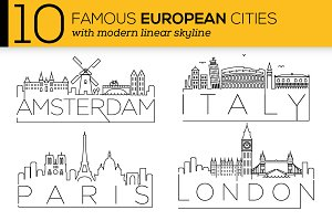 10 European Cities Linear Skyline