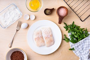 Cod fish fillets with ingredients
