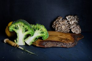 Ingredients on wooden cutting board,