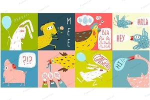 Cartoon Farm Animals Greeting Cards
