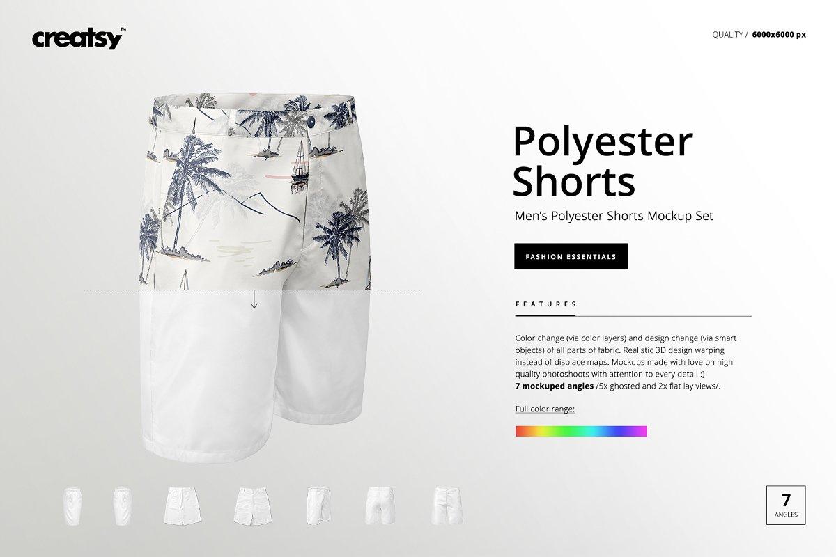 a1932001f4fc4 Men's Polyester Shorts Mockup Set ~ Product Mockups ~ Creative Market