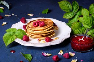 Pancakes close up, with raspberry